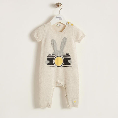 Bonnie Mob Lenon Knitted Playsuit - Putty-Rompers- Natural Baby Shower