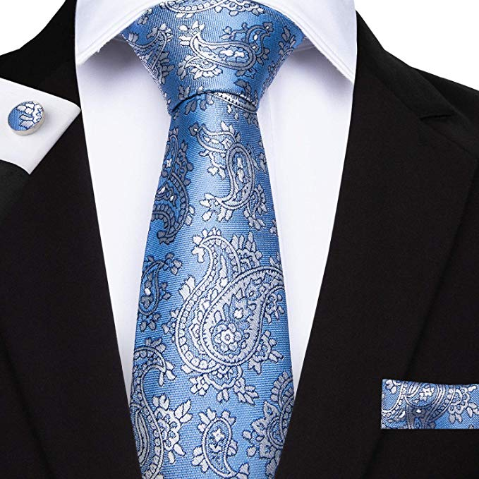 Lt. Blue Silk Necktie Set DBG206