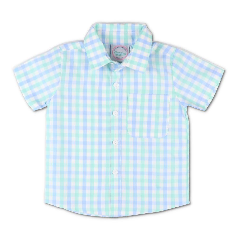 Mint & Light Blue Plaid Short Sleeve Button Down Shirt