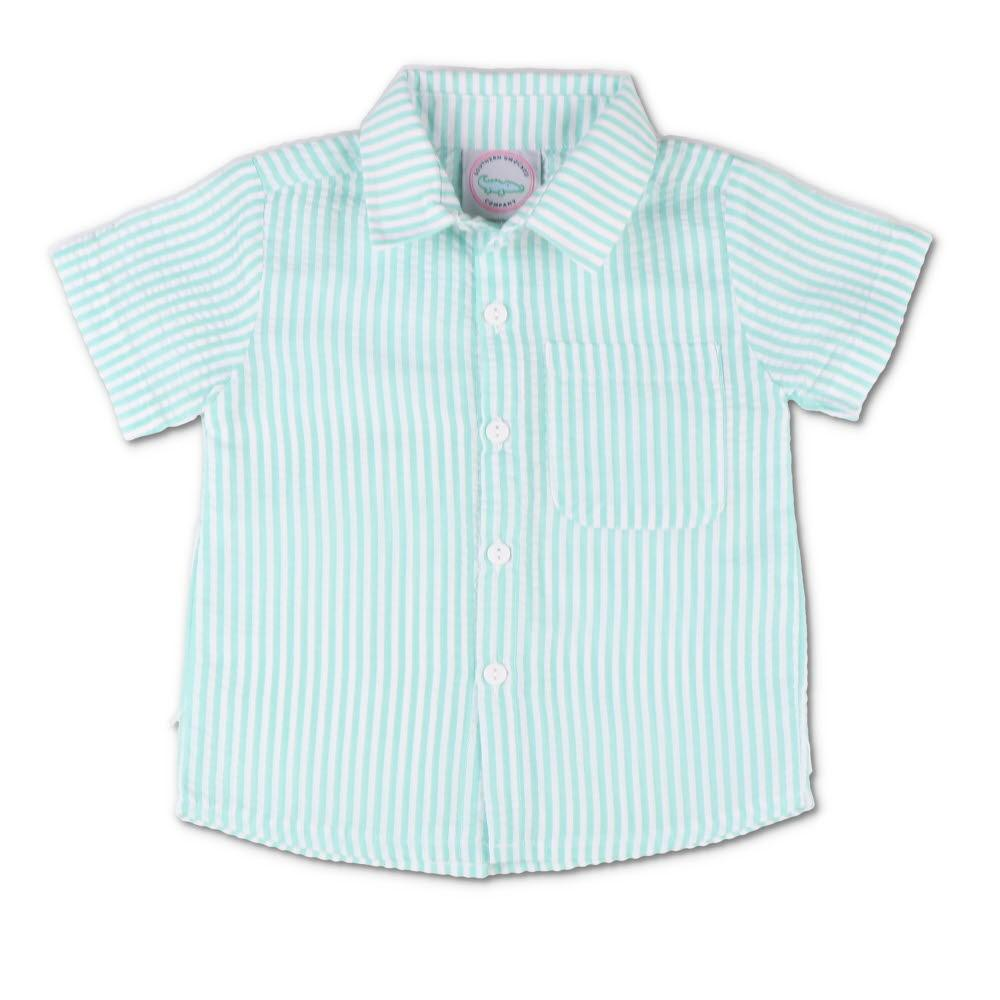 Mint Seersucker Short Sleeve Button Down Shirt
