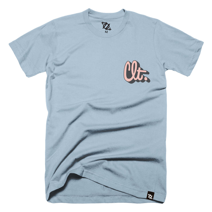 704 Shop CLT Script Outline Black/Salmon - Light Blue (Unisex)
