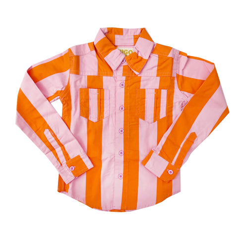 Orange and Pink Stripe Collared Shirt