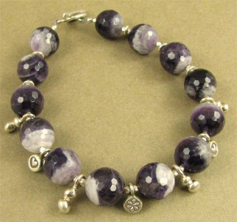 Amethyst and fine silver charm bracelet. Fine & sterling silver. Handmade.