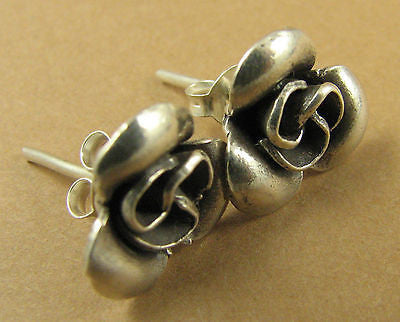 Fine silver rose flower earrings. Studs. Sterling silver butterflies.