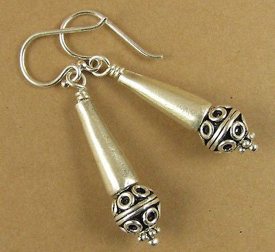 Indian bead with cone silver earrings. Fine and sterling silver.  Handmade.
