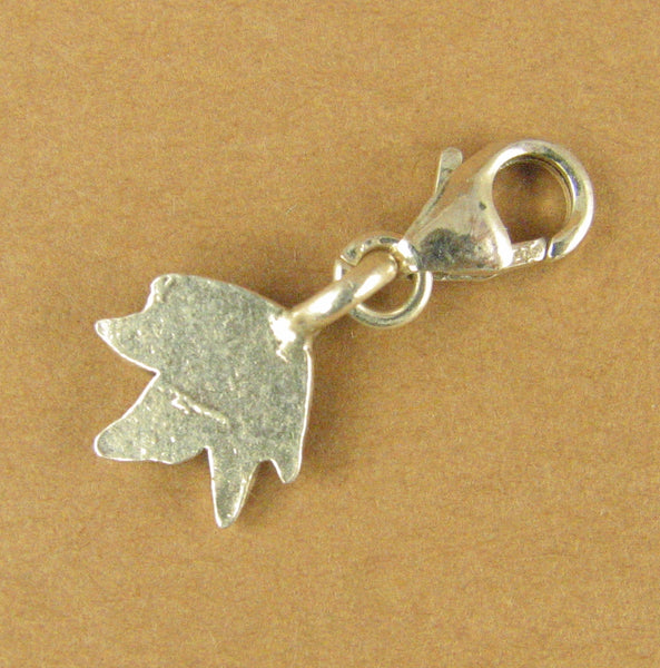 Leaf clip-on charm. Ivy. Small. Lobster clasp. Sterling silver 925. Handmade.