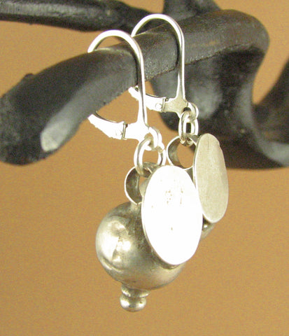 Indian tribal silver earrings. Old/antique. Big. Ball/ disc. Sterling silver 925