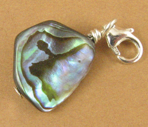 Abalone shell clip-on charm/pendant. Nugget. Sterling silver 925. Handmade.