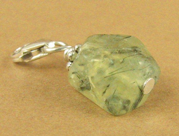 Prehnite clip-on charm. Nugget. Light green. Sterling silver 925. Handmade.