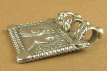 Old /antique Indian Tribal silver pendant. Peacock design. Fine silver.