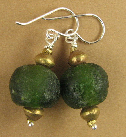 African glass earrings with brass. Dark/bottle green. Sterling silver.