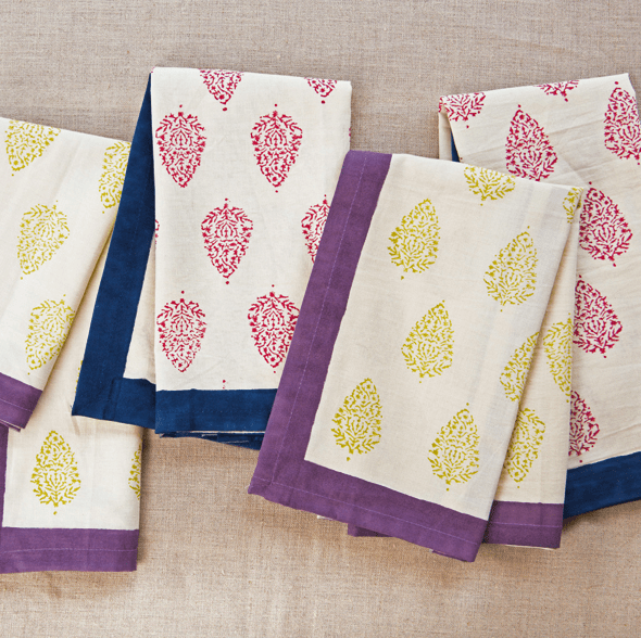 Fair Trade Block Print Napkins - assorted-styles, Compostable, fair-trade, funds community development, handmade, kitchen-dining, napkins, Sustainable, table-linens, tabletop-dinnerware-1