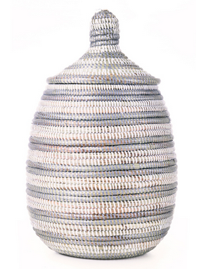 Silver & White Striped Fair Trade Lidded Gourd Baskets - africa, African, baskets, bathroom, decor, eco, fair-trade, handmade, organizing-storage, patterned, recycled, storage, sustainable, sustainably harvested