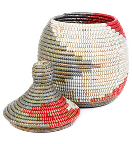Red & Silver Striped Fair Trade Lidded Gourd Basket - africa, African, baskets, bathroom, decor, eco, fair-trade, handmade, kids-bins, organizing-storage, patterned, recycled, storage, sustainable, sustainably harvested