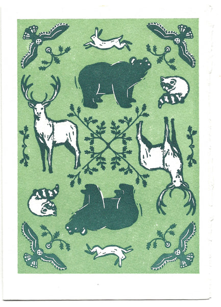 woodland animals saturn letterpress greeting card