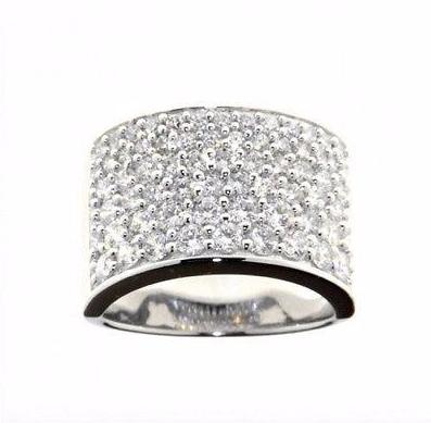 Ellani Sterling Silver Graduating 6-Row CZ Ring - Lyncris Jewellers