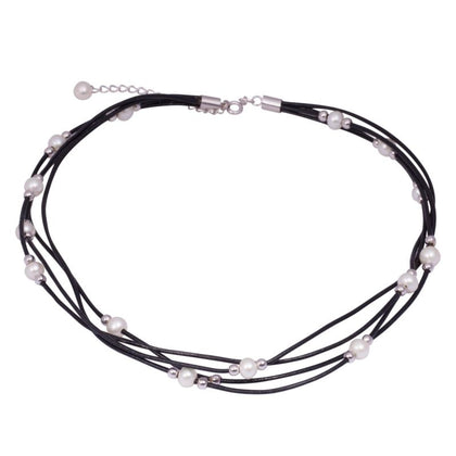 Black Leather 6-6.5mm White Freshwater Pearl Sterling Silver Necklace - Lyncris Jewellers