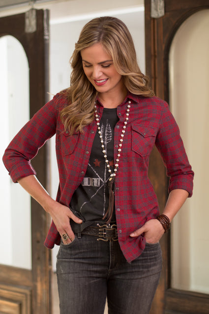 Ryan Michael Women's Red Mountain Jaspe Plaid Shirt