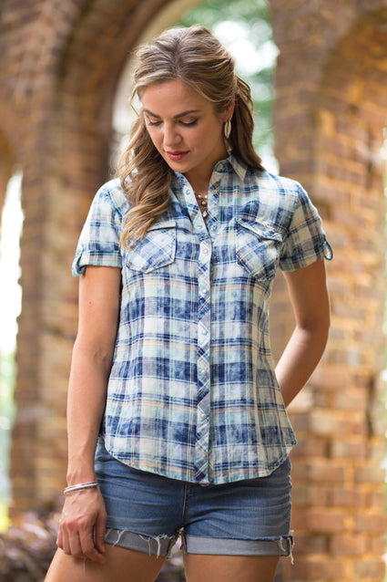 Ryan Michael Women's Artesia Plaid Shirt