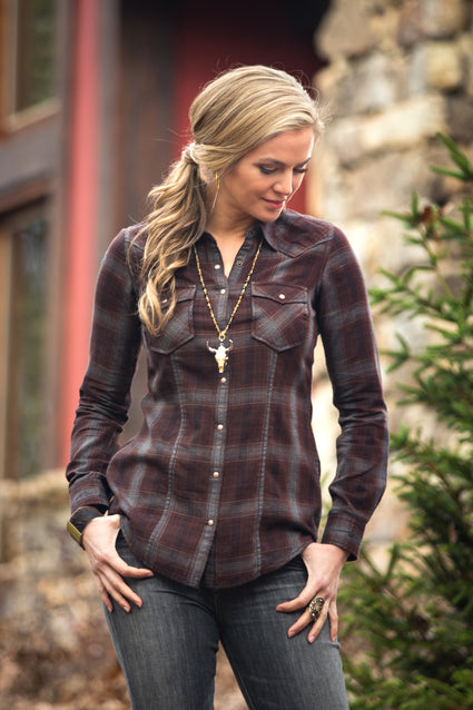 Ryan Michael Women's Snake River Plaid Shirt