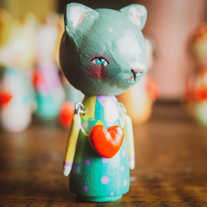 NEKO - An original handmade wooden kokeshi art doll by Danita