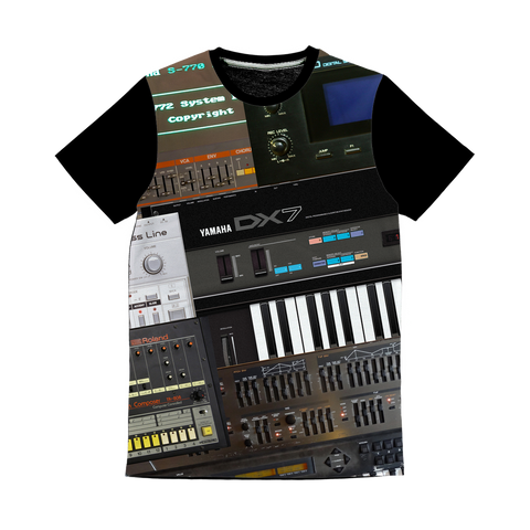 Vintage Synth All-over Print Panel T-Shirt