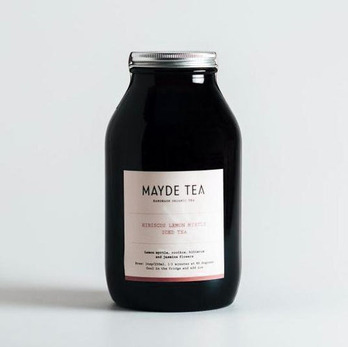 Mayde Tea Hibiscus lemon myrtle iced tea amber jar