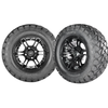 Set of (4) 22x10-12 Golf Cart Timber Wolf A/T Tire with Mirage Aluminum Wheel