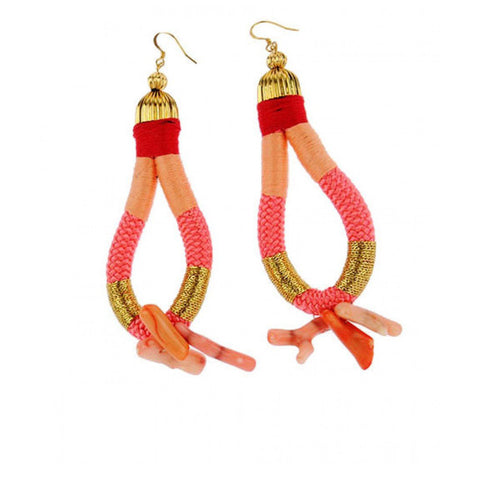 African-inspired handmade red coral rope earrings by Pichulik