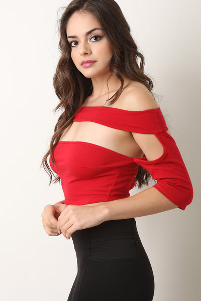 Jersey Knit Cutout Bardot Crop Top