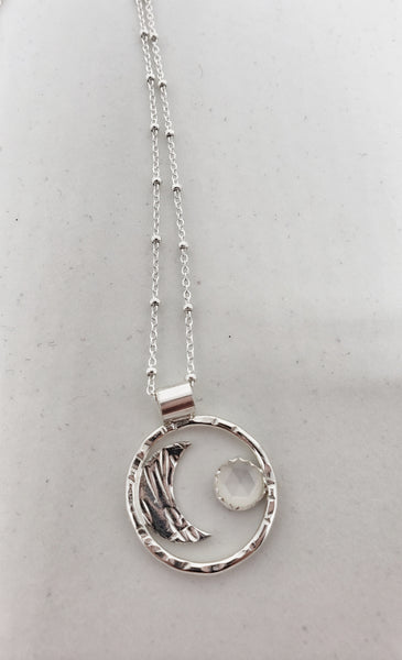 Moon phases necklace with stone