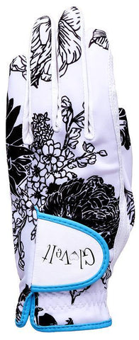 GloveIt Black & White Rose Golf Glove
