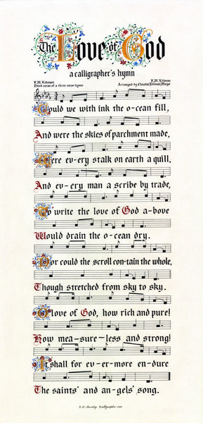 The Love of God calligraphy reproduction by Clifford Mansley