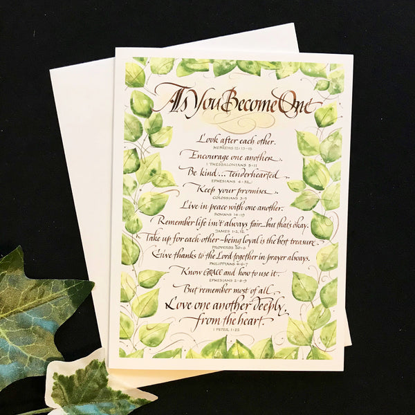 Fine Art Calligraphy Card As You Become One by Holly Monroe Calligraphy