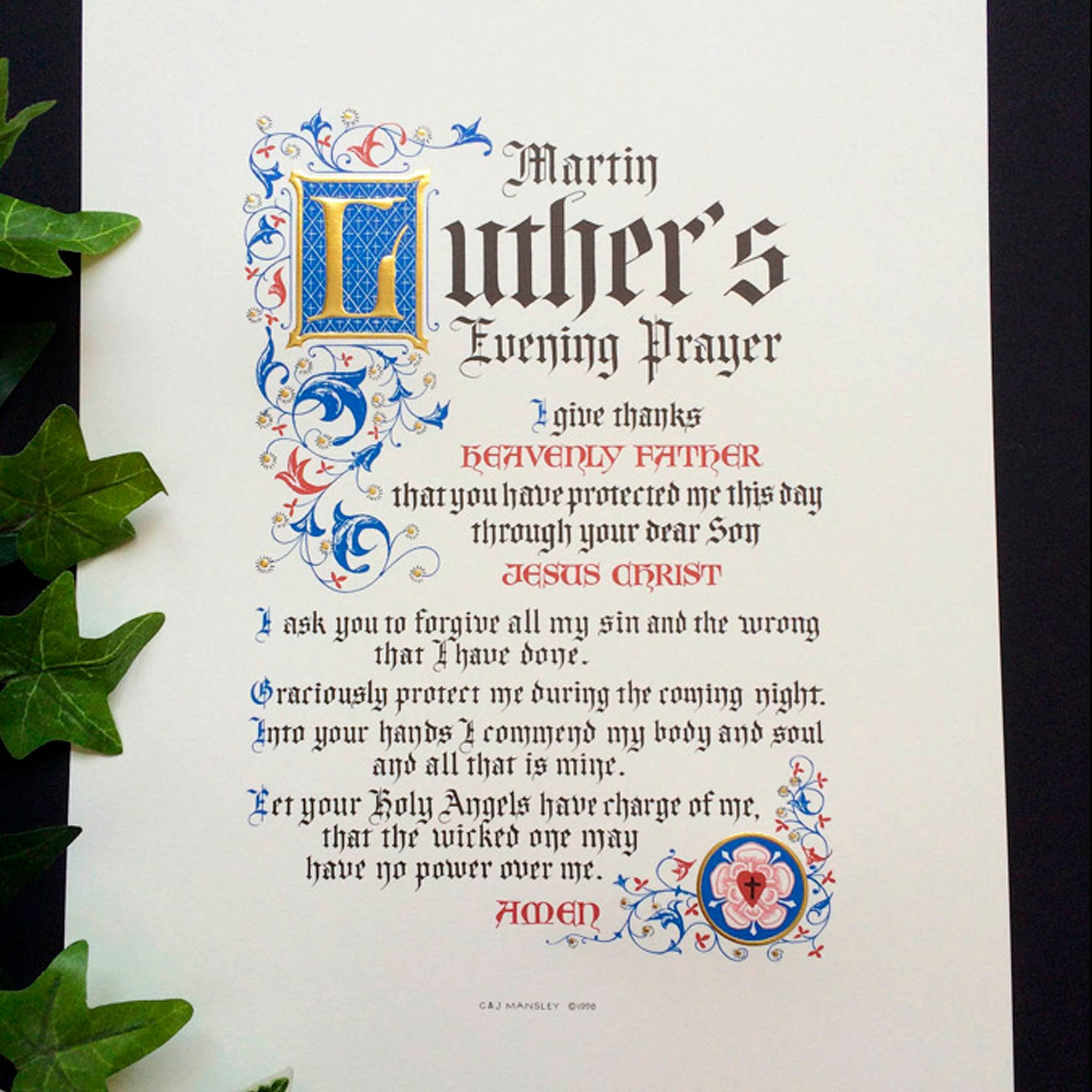 Martin Luther's Evening Prayer | Calligraphy Cliff Mansley