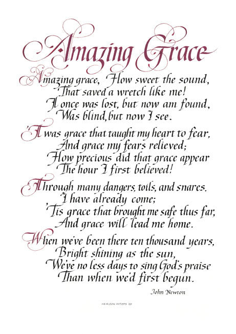 Amazing Grace how sweet the sound that saved a wretch like me Clifford Mansley Calligraphy print