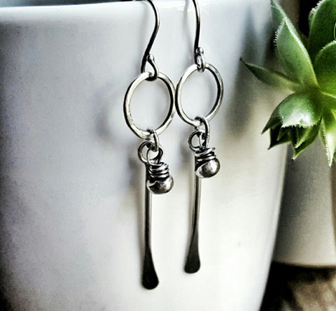 Handmade Sterling Silver Single Bead Circle with Long Hammered Stem Tribal Earrings - Andewyn Designs