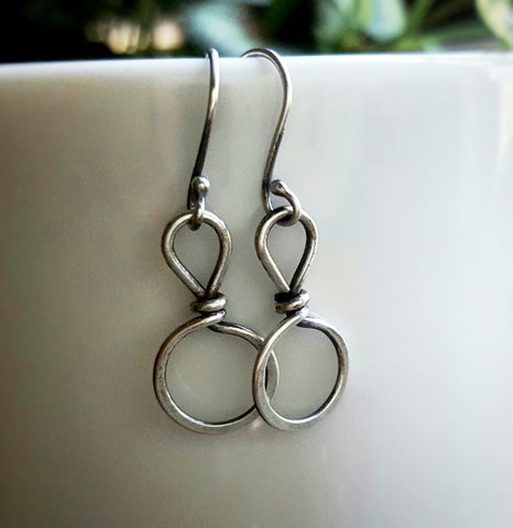 Handmade Sterling Silver Small Circle Minimalist Earrings  Andewyn Designs