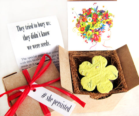 Recycled Ideas Favors She Persisted theme gift box with plantable paper