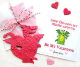 Recycled Ideas Favors red plantable seed paper dragon, hearts and card