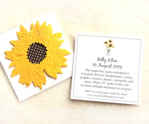 Recycled Ideas Favors plantable paper sunflower with card