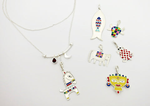 'Indian folk art' charm necklace [PBZ-1259-N]