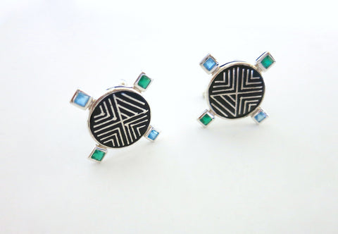 Classy round Bidri cufflinks with facetted square stones (PB-3755-CL)