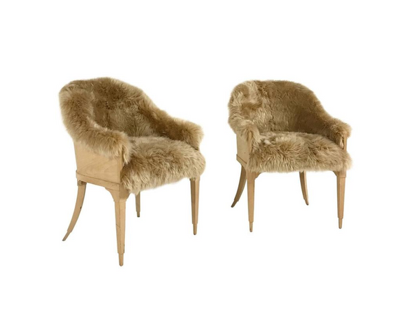 Barrel Chairs in New Zealand Sheepskin, pair - FORSYTH
