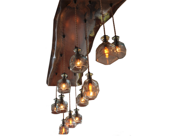 Big Sur Wood and Glass Chandelier