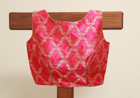 Pink Sleeveless Benarasi Blouse