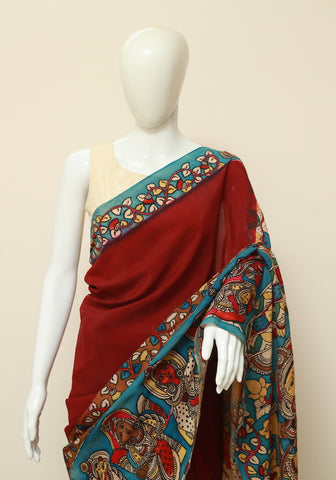Crepe Silk Hand Painted Kalamkari Saree Design 4