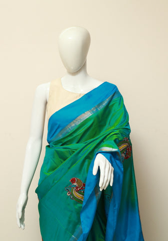 Green Uppada Saree with Applique Kalamkari Embroidery