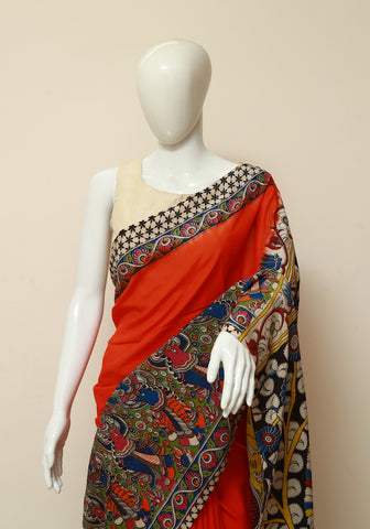 Assam Silk Printed Kalamkari Saree Design 2