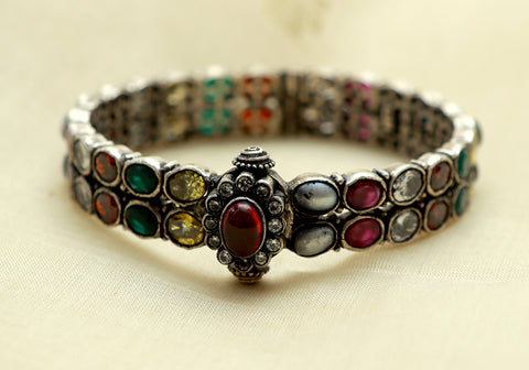 Silver Navaratna Bangle Design 13